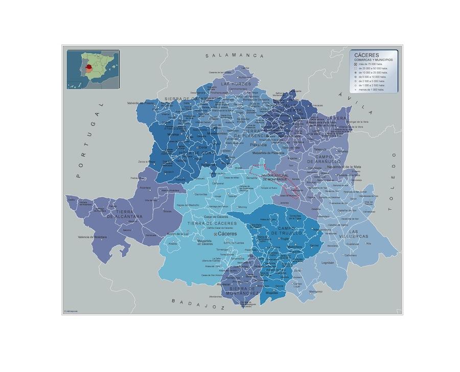 Municipios Caceres  Tienda Mapas Posters Pared