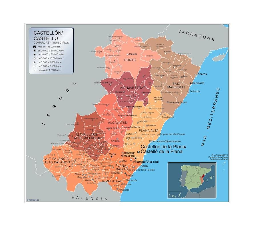 Municipios Castellon Mapas Murales De Espana Y El Mundo