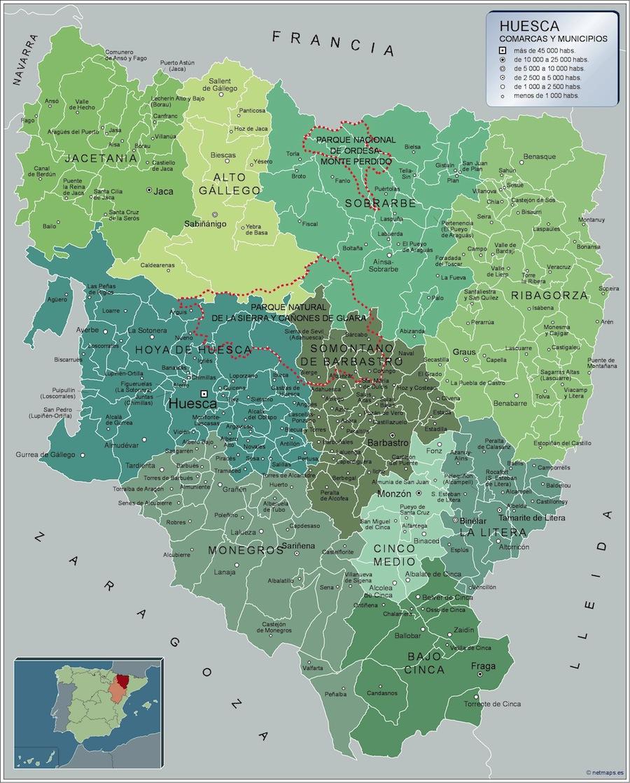 Mapa De Huesca Pirineos.Municipios Huesca Mapas Murales De Espana Y El Mundo