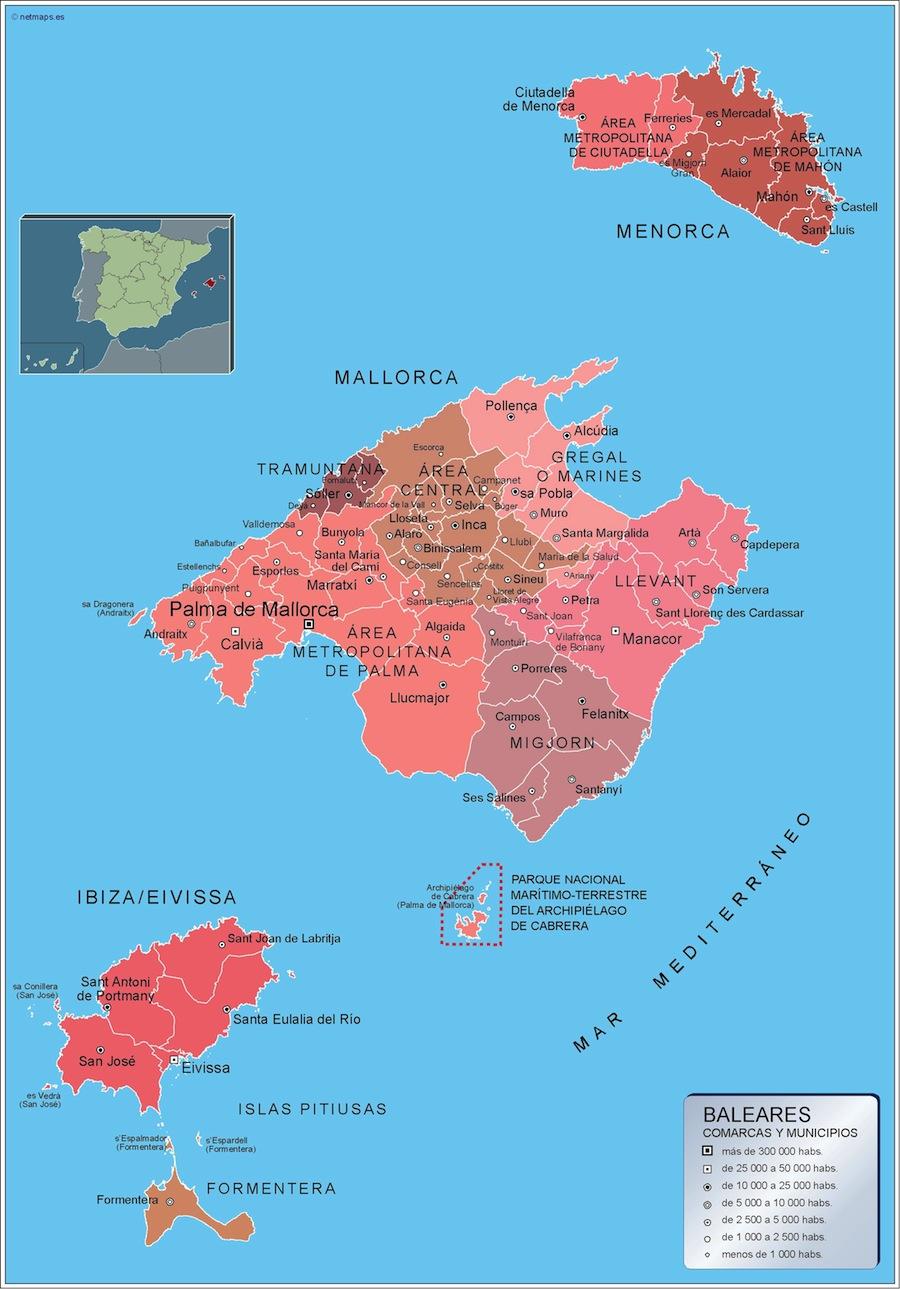 Municipios illes balears tienda mapas posters pared - Islas de baleares ...