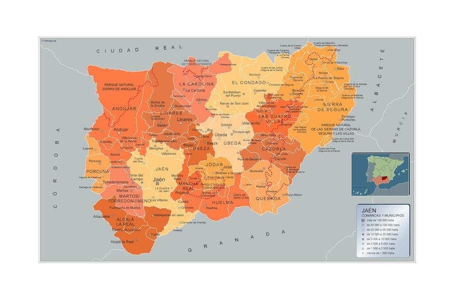 Municipios Jaen Mapas Murales De Espana Y El Mundo