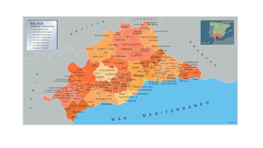 Municipios Malaga Mapas Murales De Espana Y El Mundo