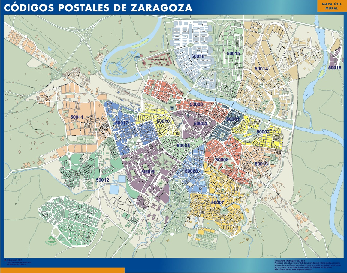 Mapa Zaragoza Codigos Postales