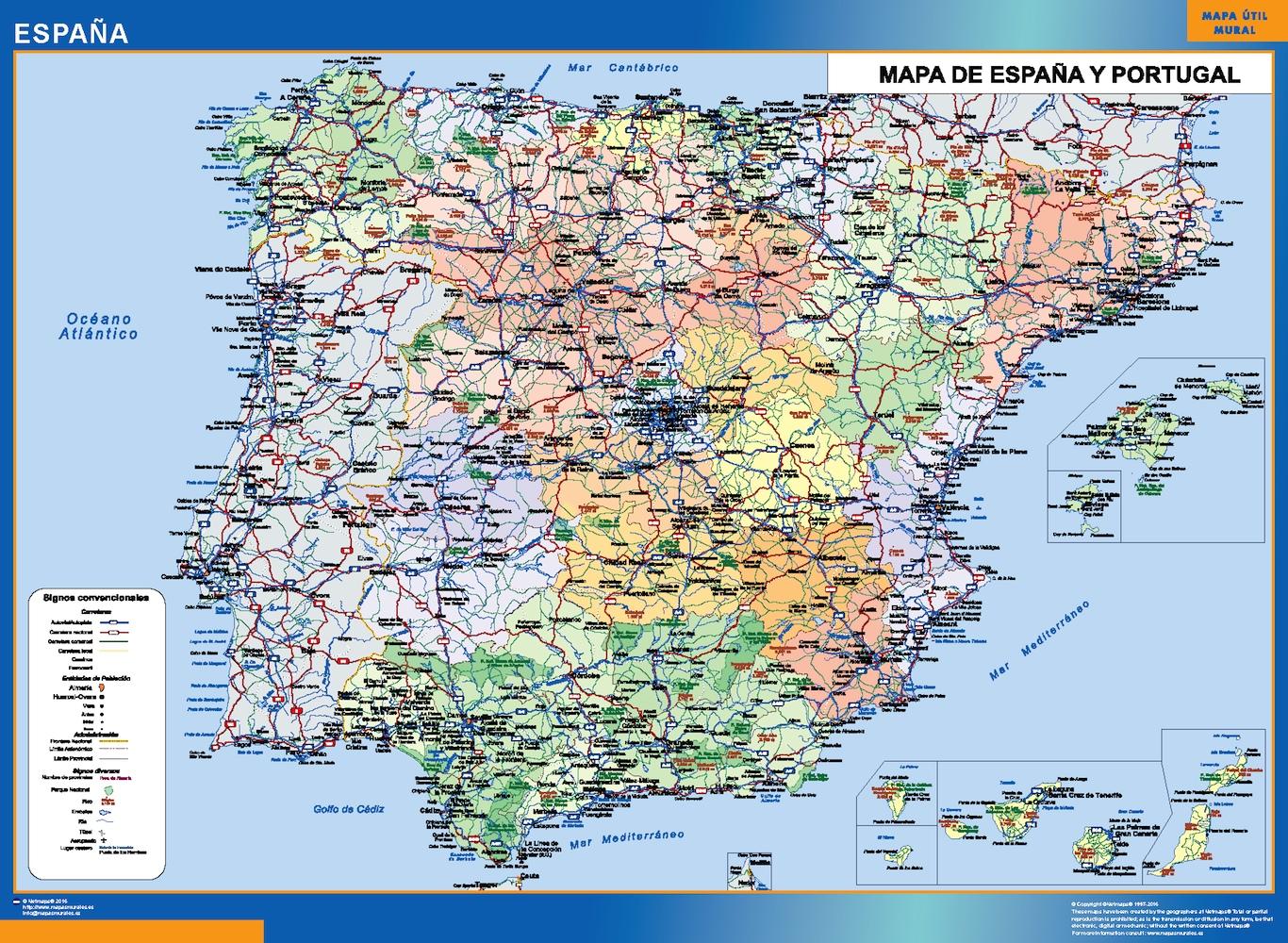 Mapa De España Actualizado.Mapa Espana Simple Mapas Murales De Espana Y El Mundo