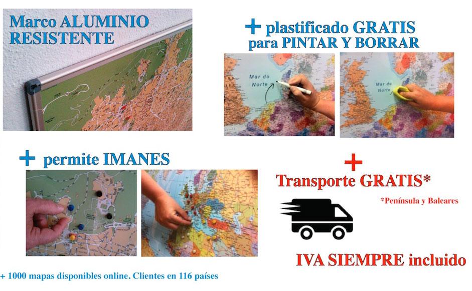 mapas pizarras magnéticos