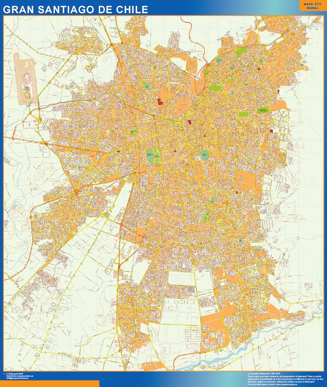 Mapa gran santiago chile tienda mapas posters pared for Calles de santiago de chile