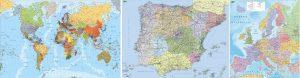 Pack 3 mapas mundo europa espana