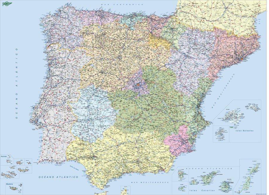Mapa De Espana Gratis Online Mapas Murales De Espana Y El Mundo