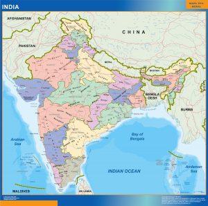 Mapa India gran tamaño mural de pared