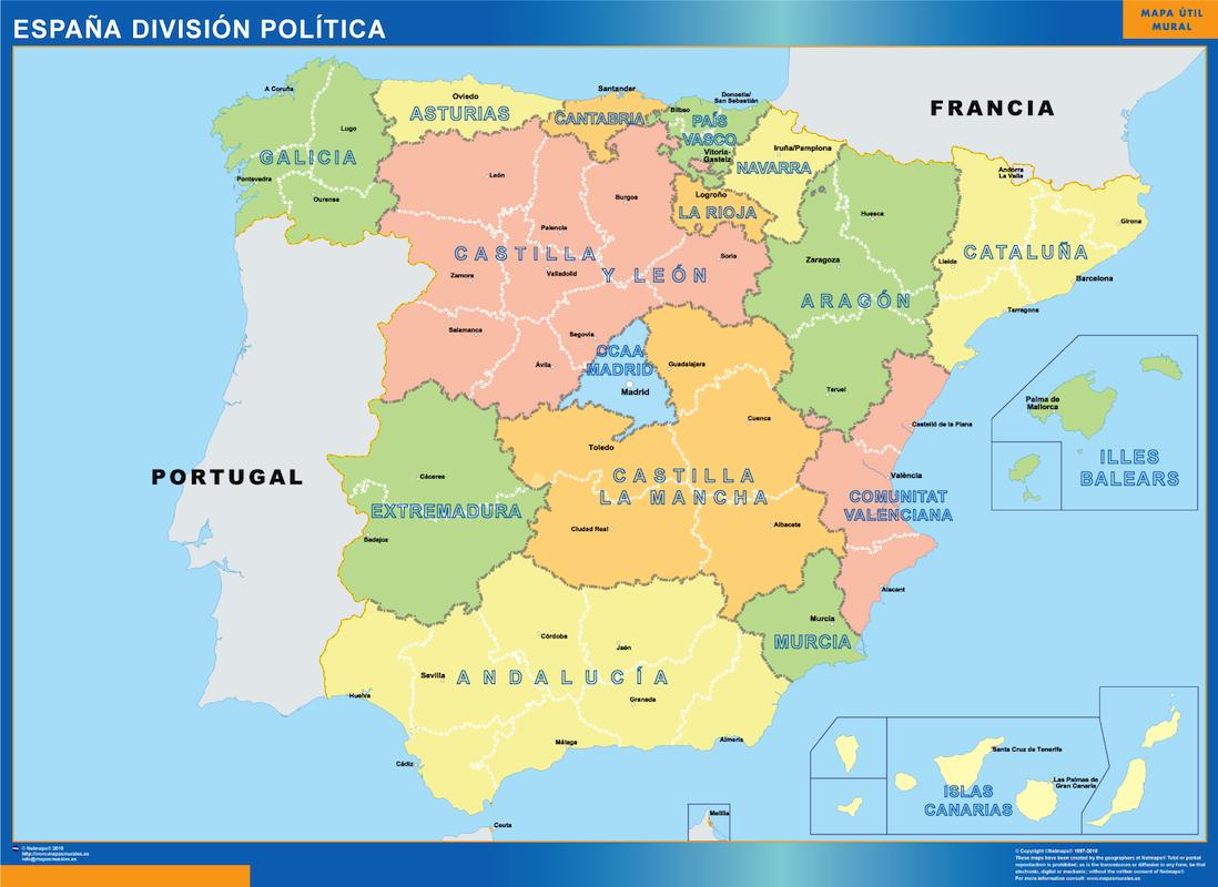 Www Mapa De Espana.Espana Division Politica Mapas Murales De Espana Y El Mundo