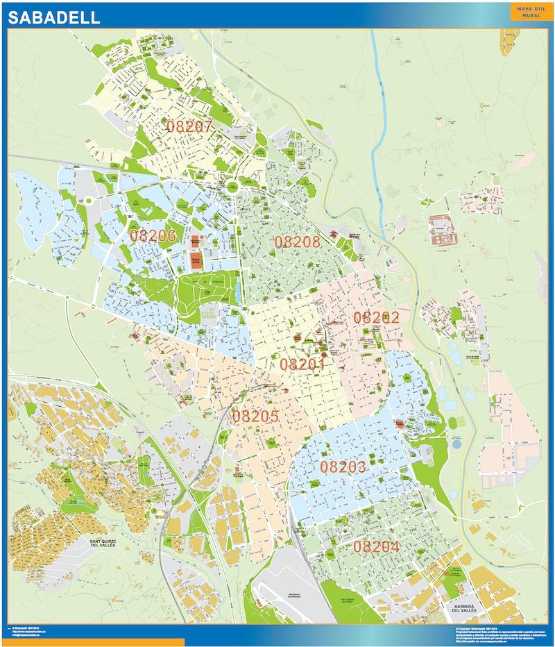 Mapa Sabadell Códigos postales