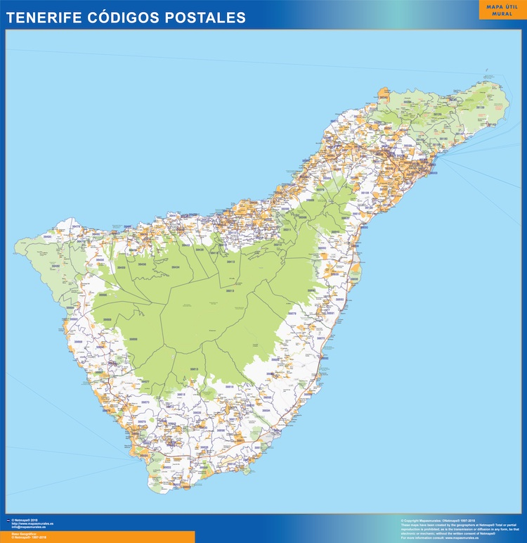 Mapa Isla Tenerife Códigos Postales