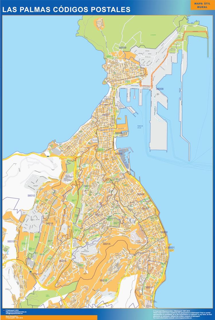 Mapa Las Palmas codigos postales