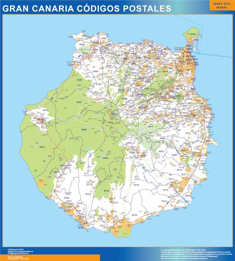 Mapa isla Gran Canaria codigos postales