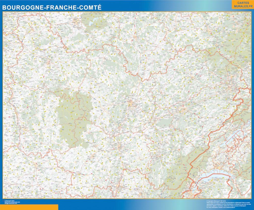 Mapa Region Bourgogne Franche Comte