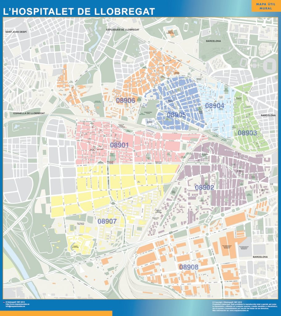 Mapa Hospitalet de Llobregat codigos postales