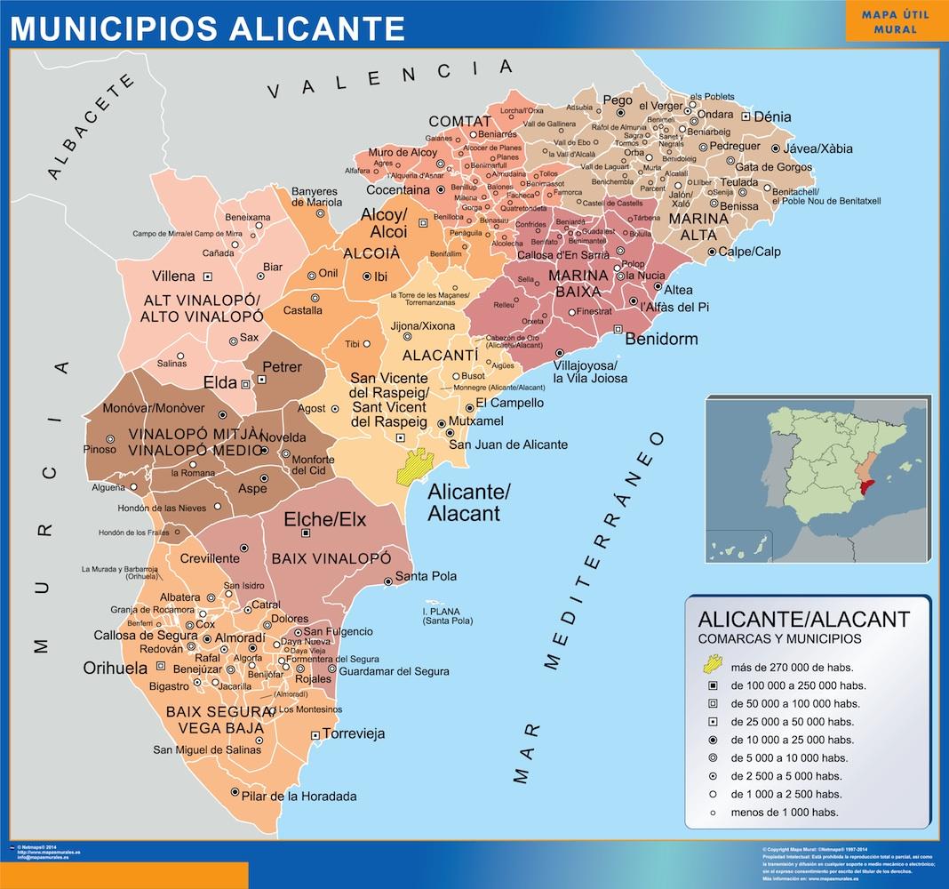 Mapa municipios provincia Alicante