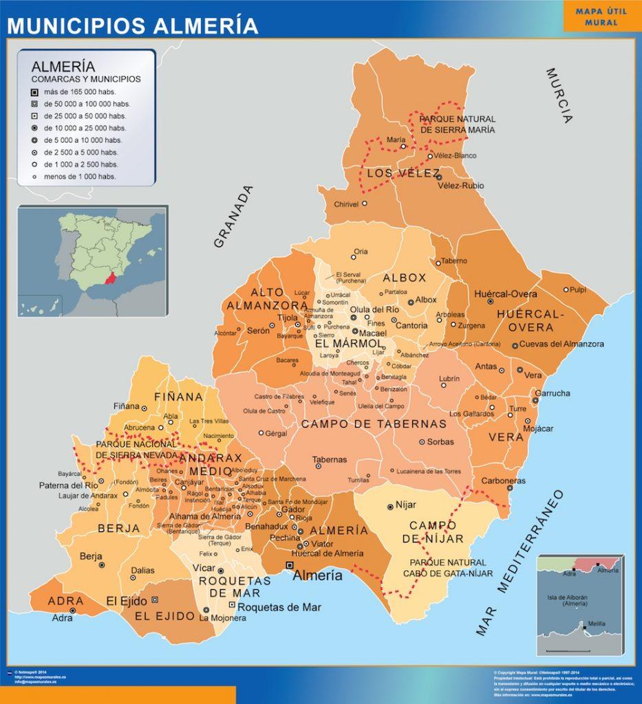 Mapa municipios provincia Almeria