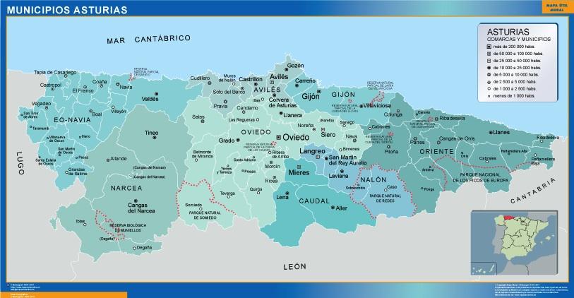 Mapas Asturias Mapas Murales De Espana Y El Mundo
