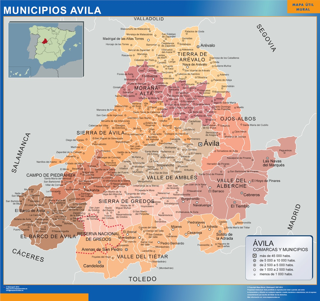 Mapa municipios provincia Avila