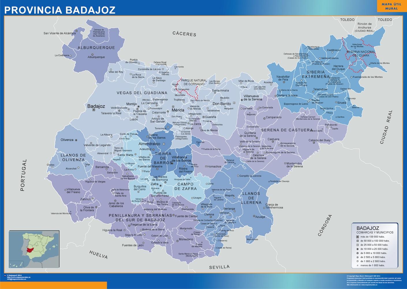 Mapa municipios provincia Badajoz
