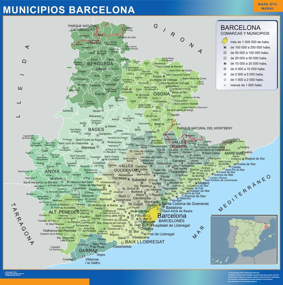 Mapa municipios provincia Barcelona