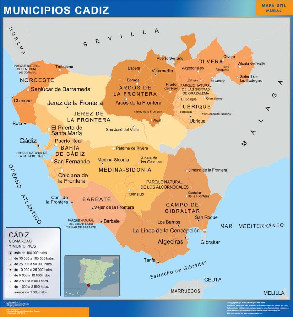 Mapas Cadiz Mapas Murales De Espana Y El Mundo