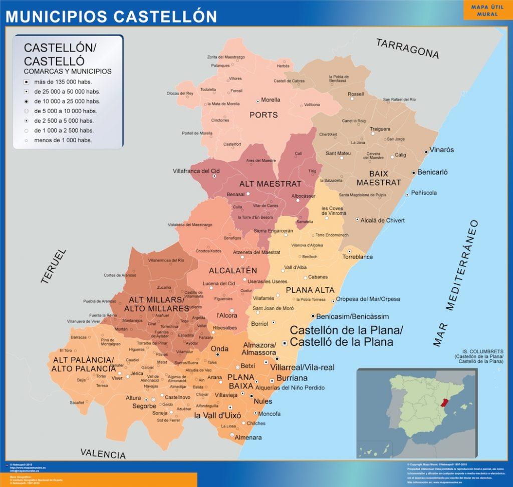 Mapas Castellon Mapas Murales De Espana Y El Mundo