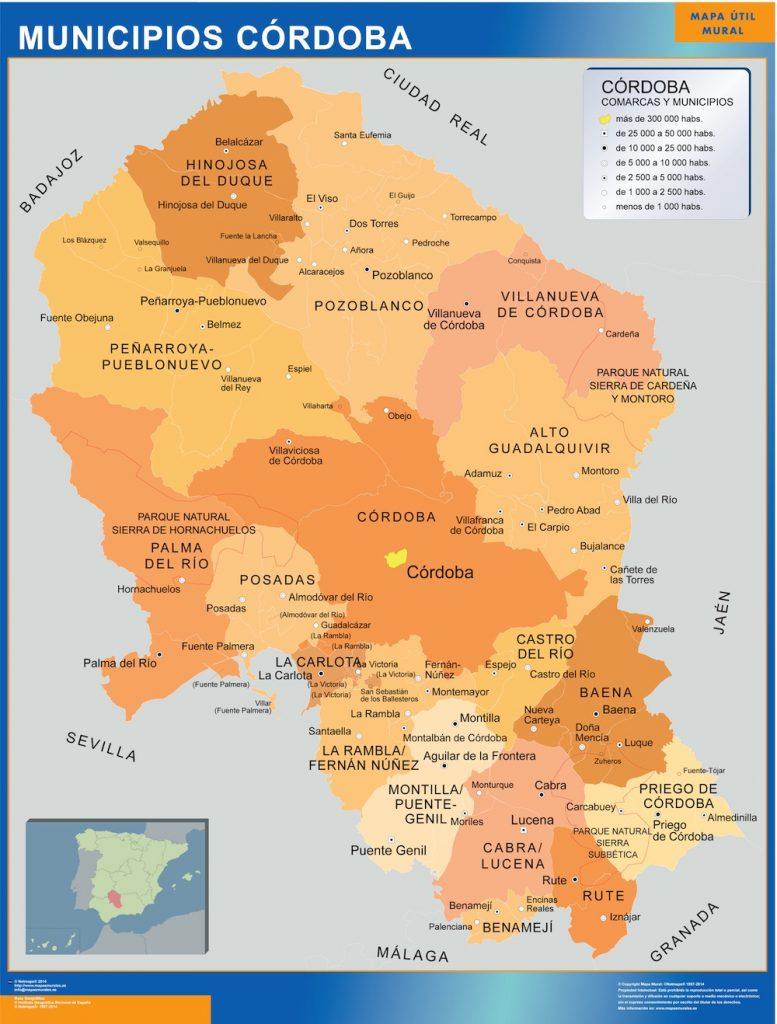 Mapa Provincia De Cordoba España.Mapas Cordoba Mapas Murales De Espana Y El Mundo