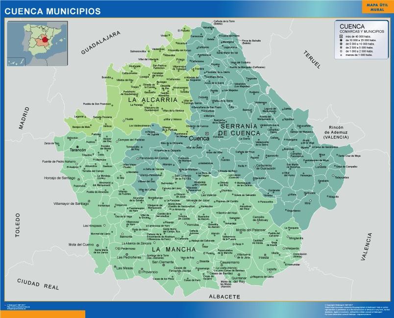 Mapa municipios provincia Cuenca