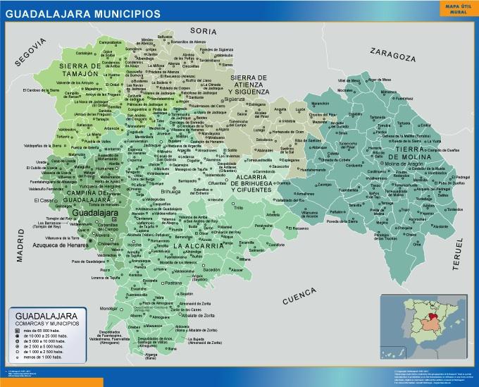 Mapa municipios provincia Guadalajara