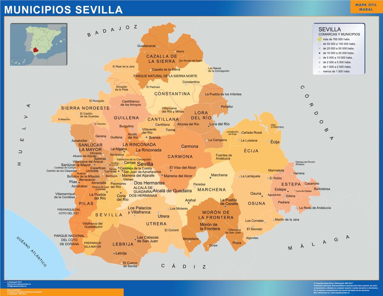 Mapa municipios provincia Sevilla