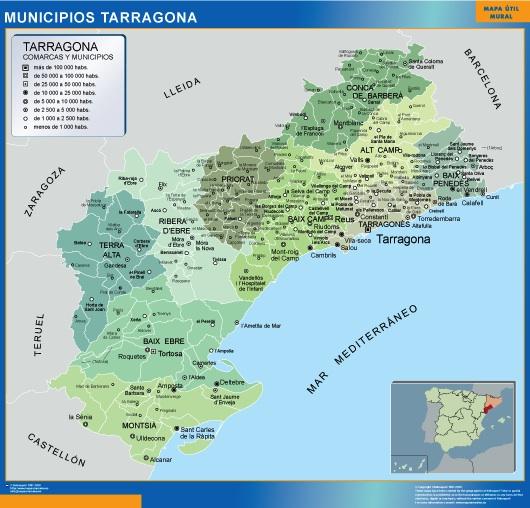 Mapa municipios provincia Tarragona