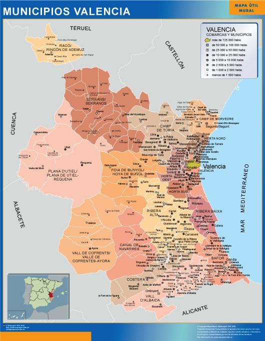 Mapa municipios provincia Valencia