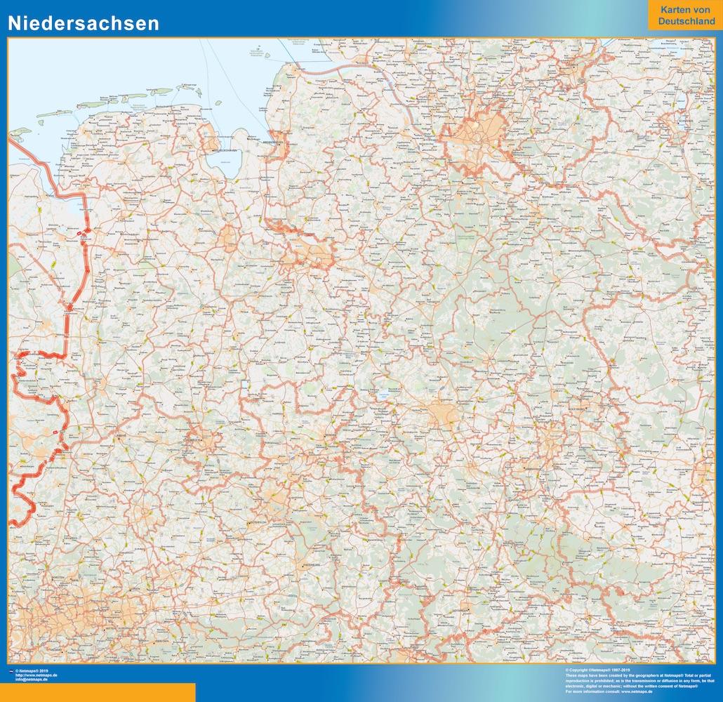 Baja Sajonia Lander mapa