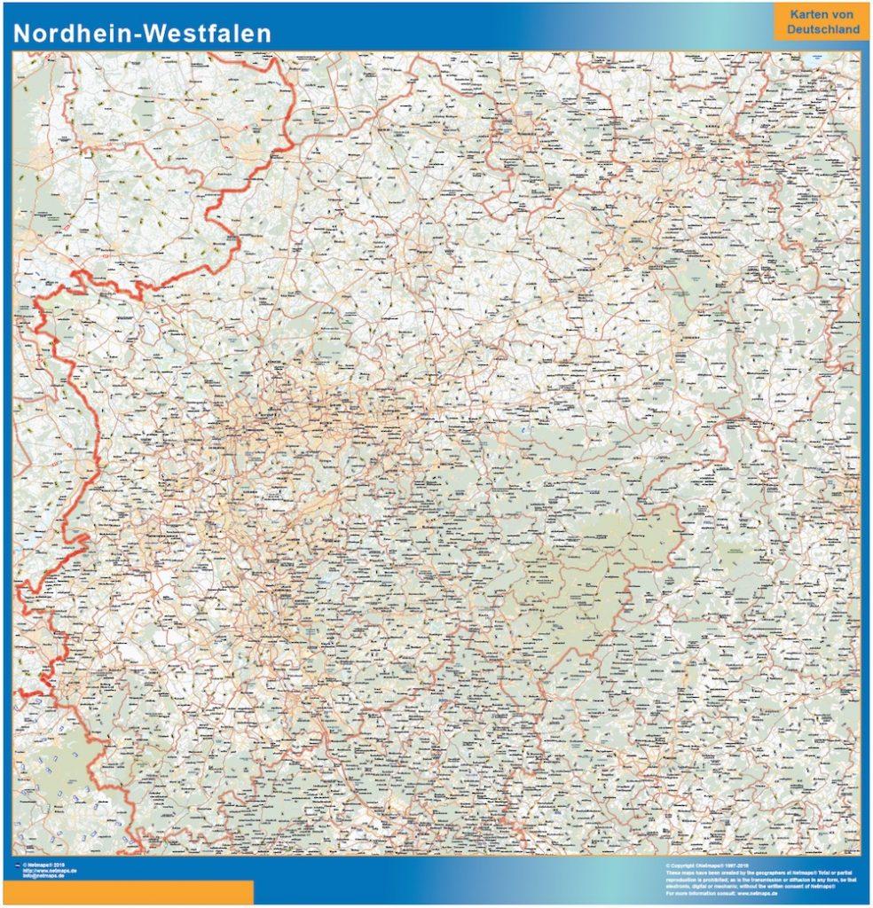 Renania del Norte-Westfalia Lander mapa
