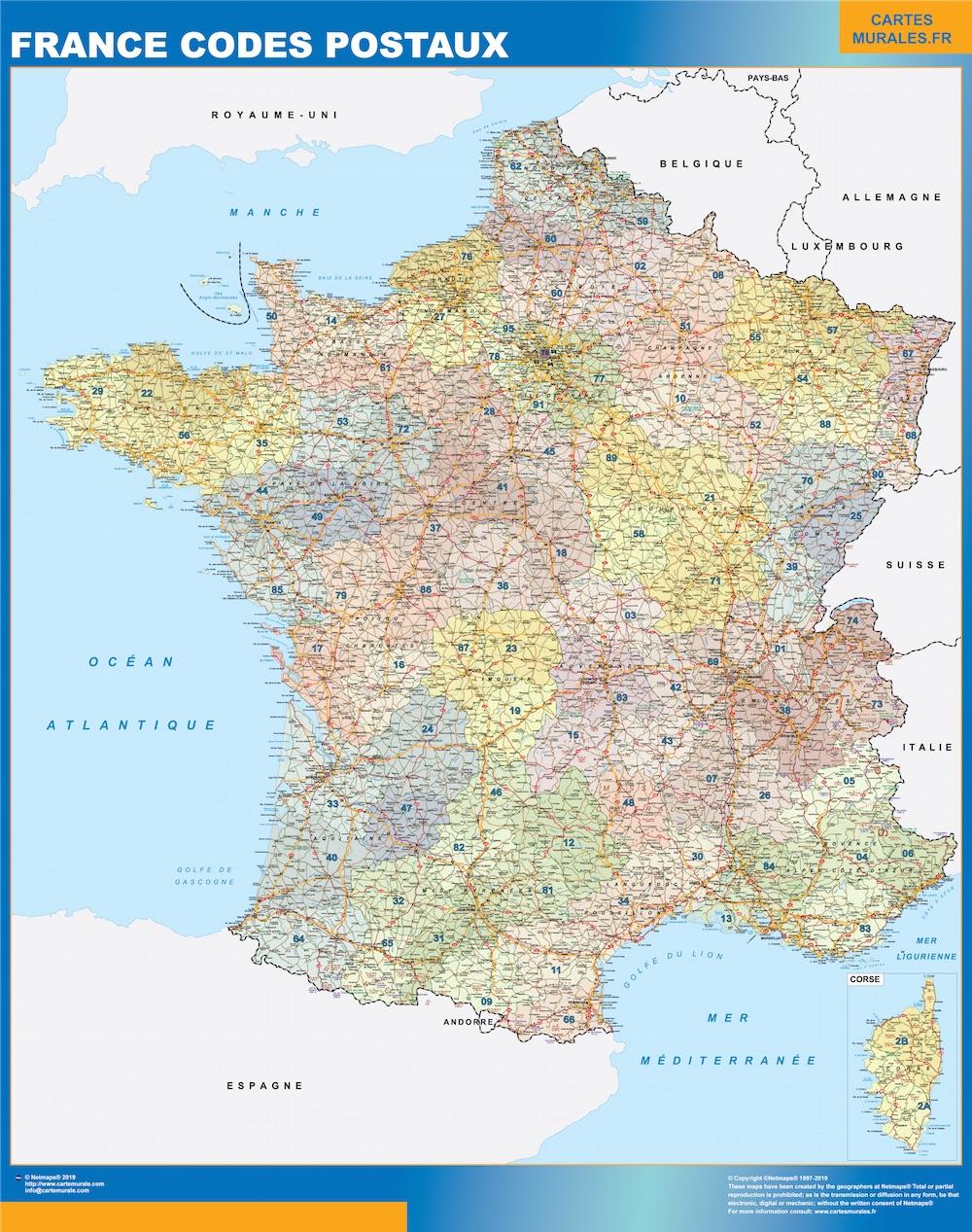 Mapa Francia códigos postales