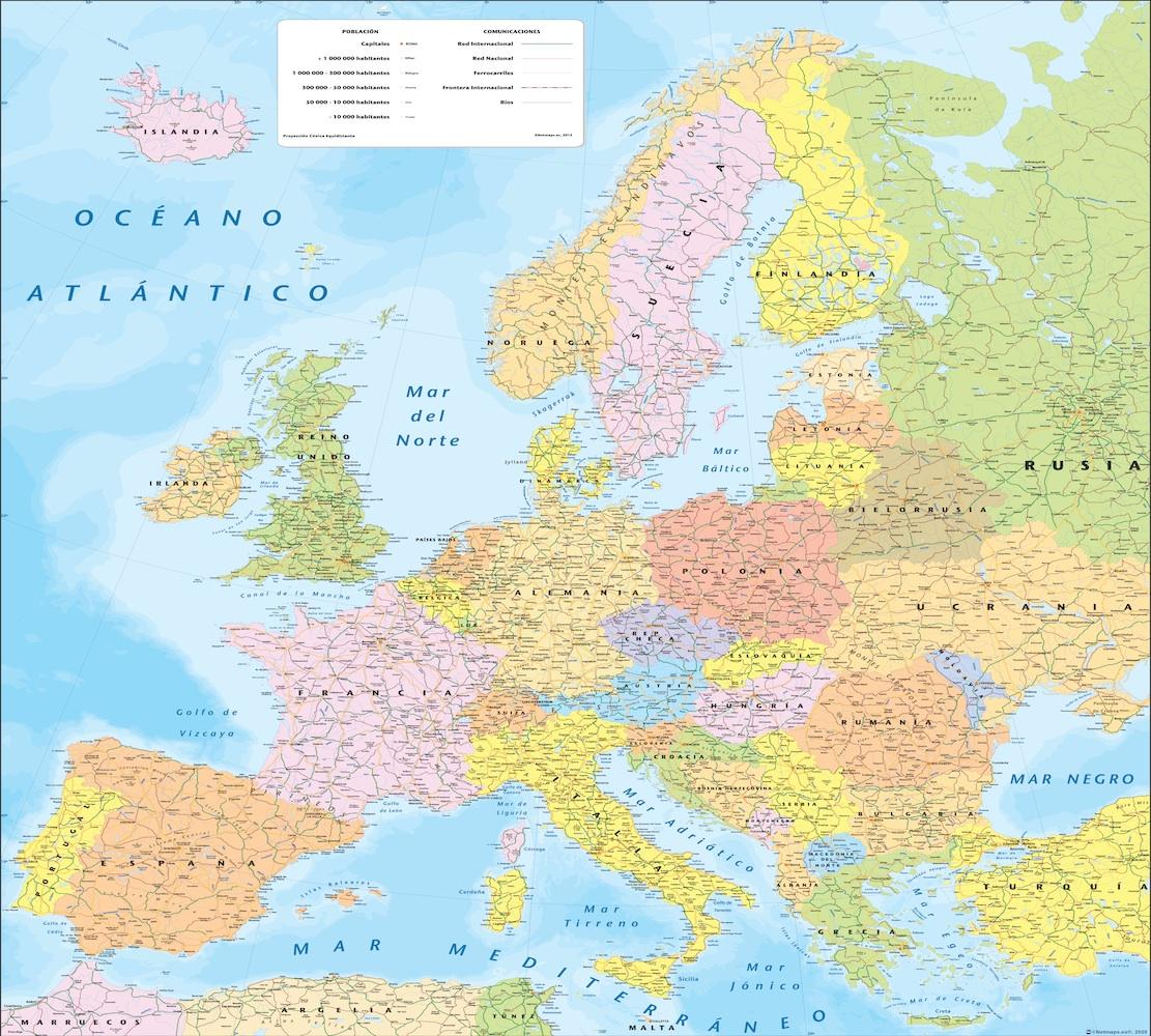 Mapa Europa politico pared