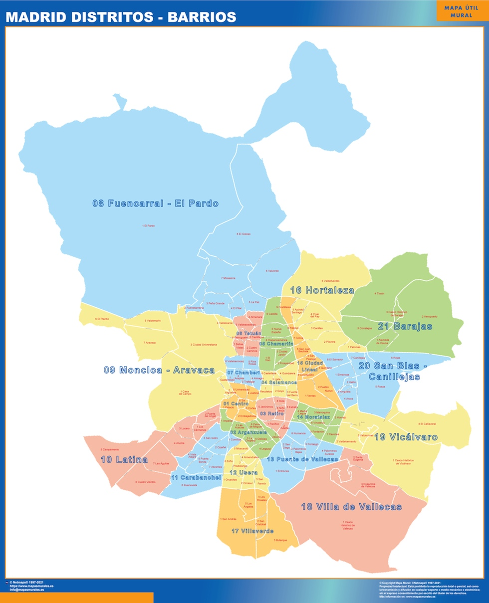 Mapa Madrid Distritos Barrios